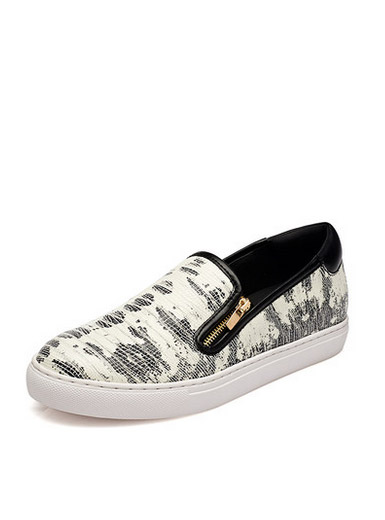 Daphne zipper deep women's singles printed calico leisure flat shoes
