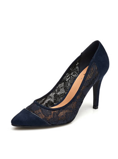 Daphne counter genuine elegant fine pointed lace hollow hollow high heels