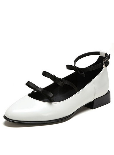 Daphne Wang also cooperation leisure low heels elegant bow pointed word buckle single shoes