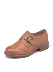 Daphne new England leather thick deep-heeled low-heeled shoes