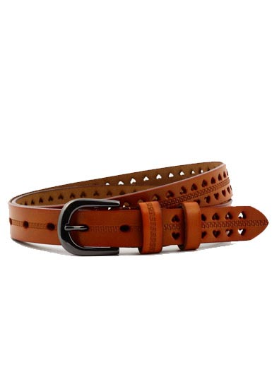 Double row of peach heart leisure wild leather belt