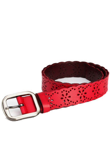 Plum blossom perforated leather leisure wild lady belt