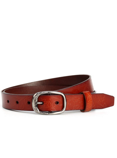 Little embossed leather leisure wild lady belt