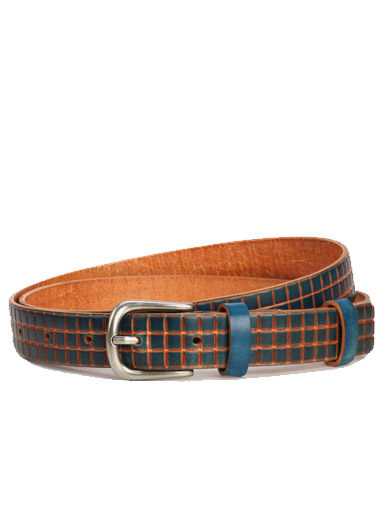 Three rows of lattice cowhide leisure wild lady belt